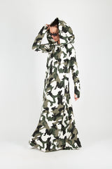 Military Hooded  Maxi Dress