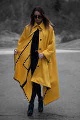 Yellow Cashmere Women Coat With Loose Line