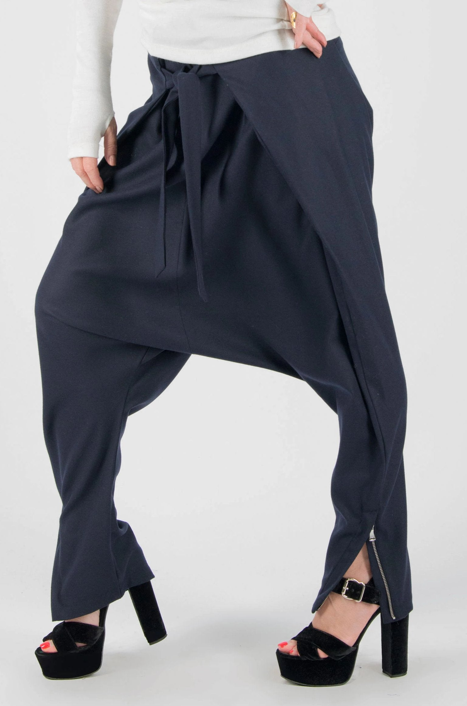 Blue Wool Winter Drop Crotch Pants, Pants & Leggings