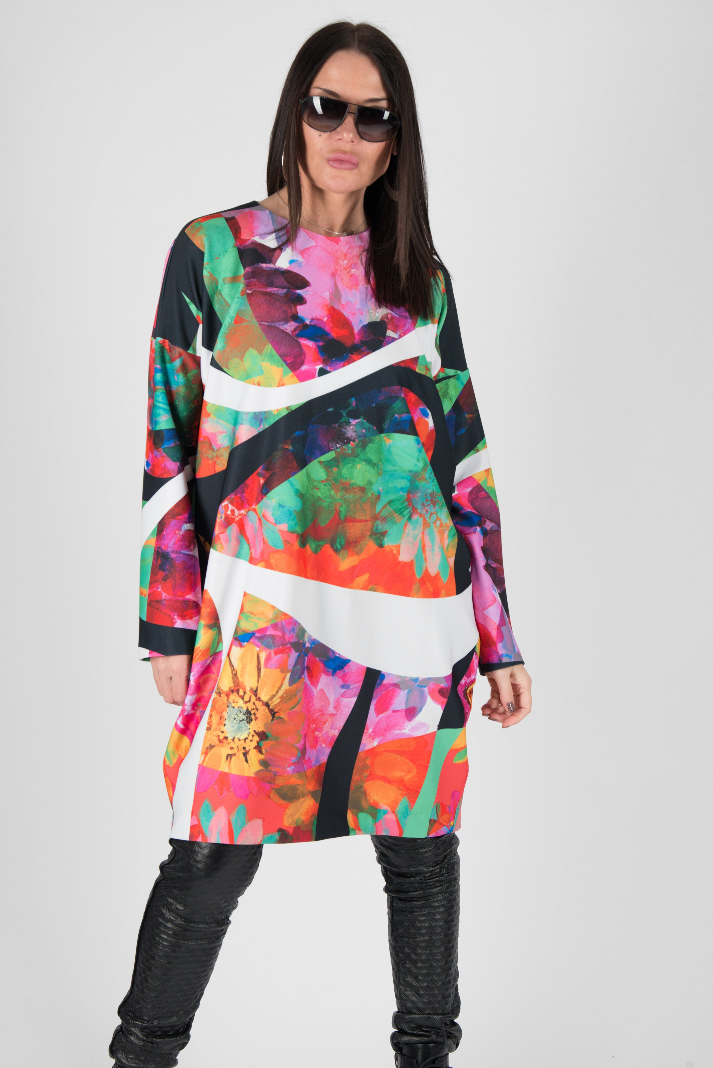 Midi Neoprene Dress with Long Sleeves, New Arrival