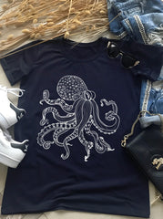 Black Woman Octopus T-shirt, T-shirts