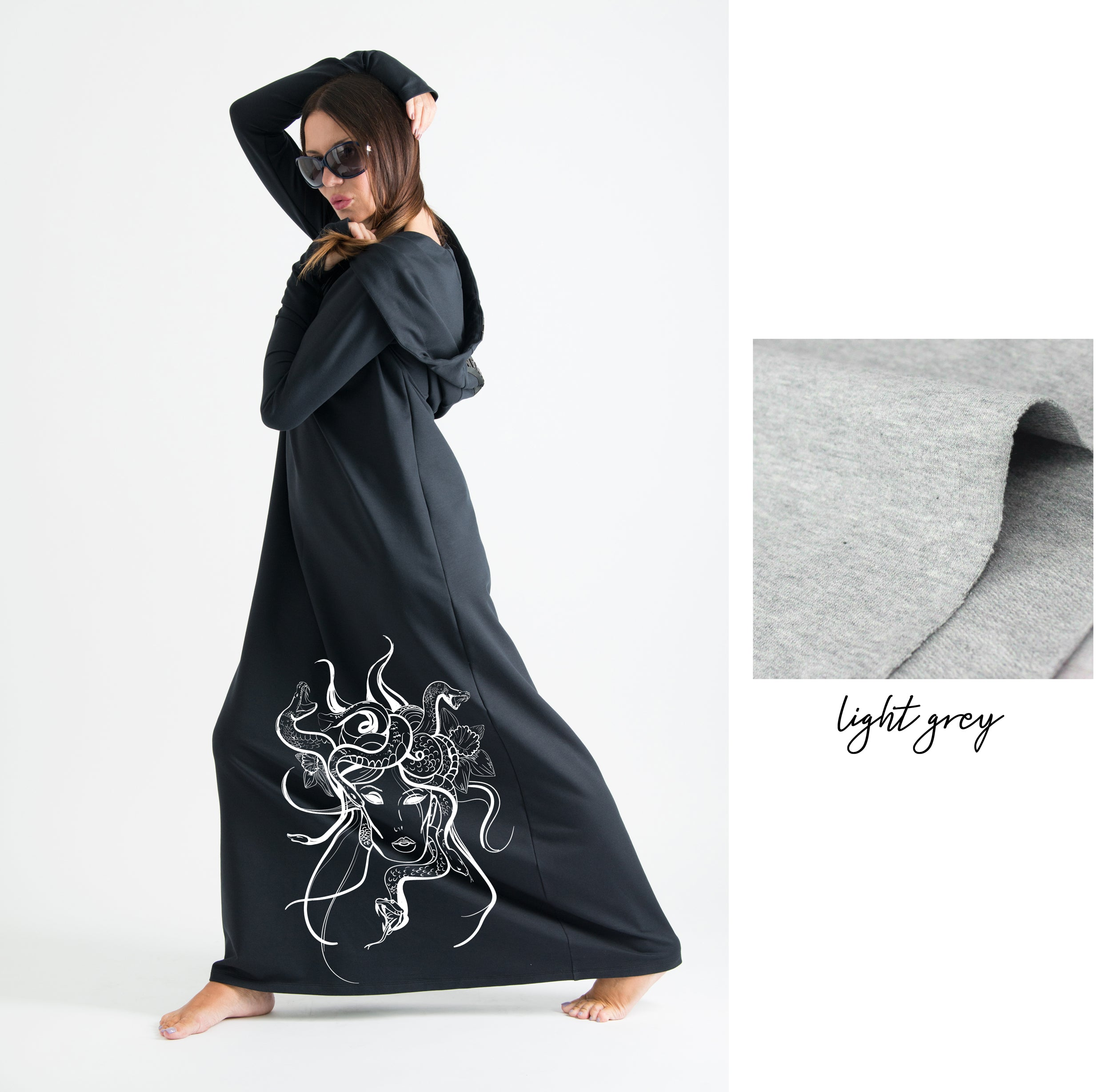 Black Hooded Octopus Printed Dress