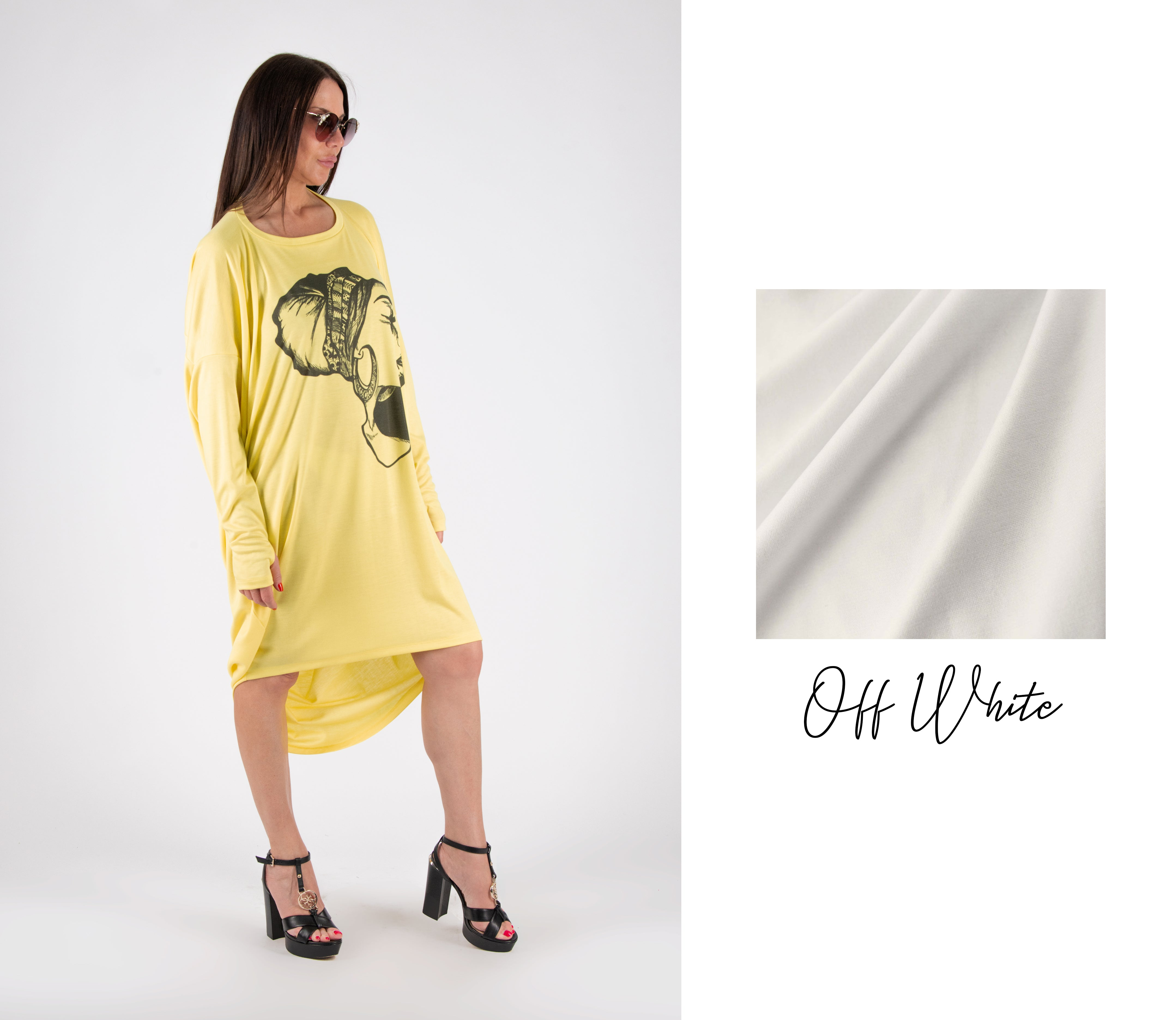 Yellow Print  Long Winter Tunic