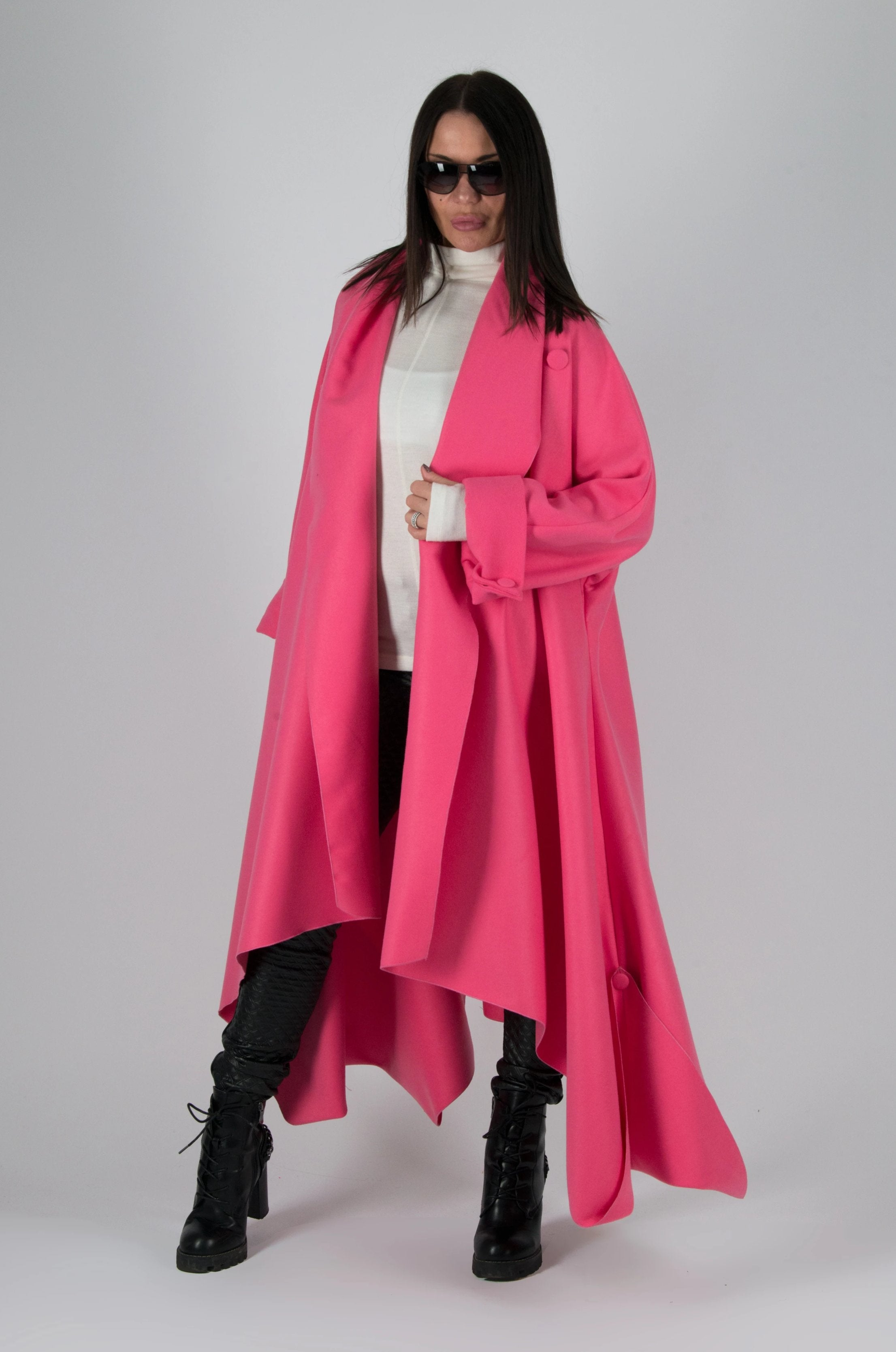 Autumn Winter Hot Pink Cashmere Loose Coat, Coats