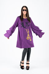 Purple Summer Cotton Flounces Dress