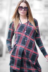 Long Scottish Plaid Dress long Sleeve