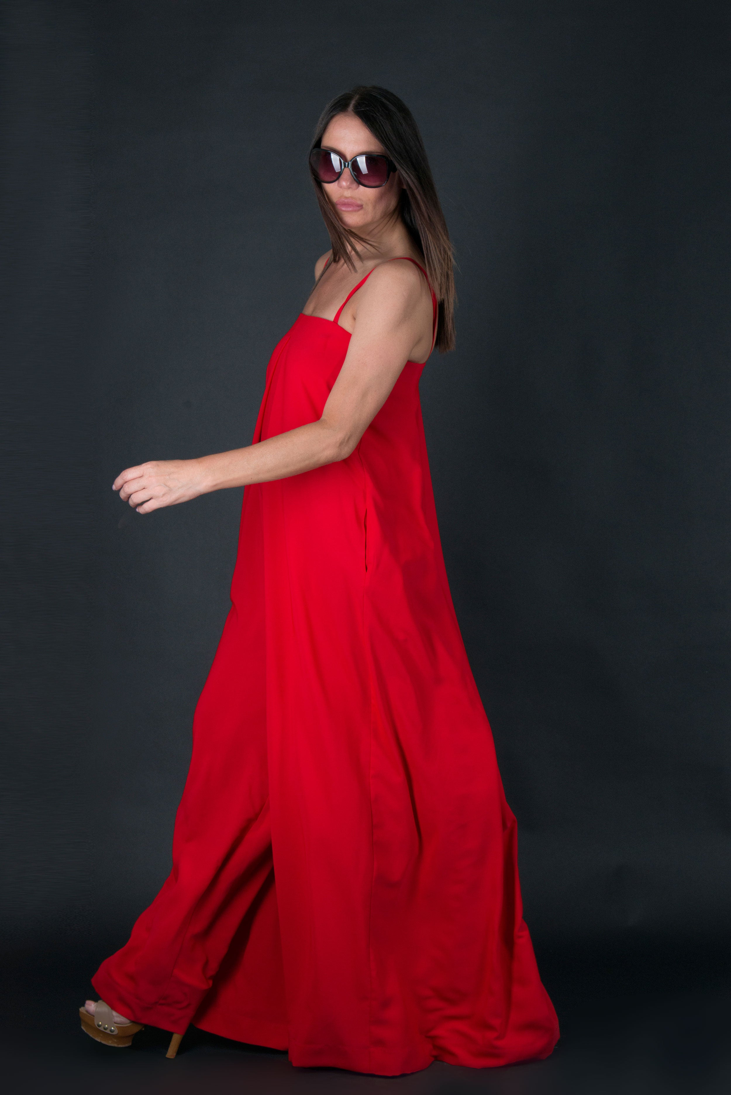 Red Wide Summer Jumpsuit, New Arrival