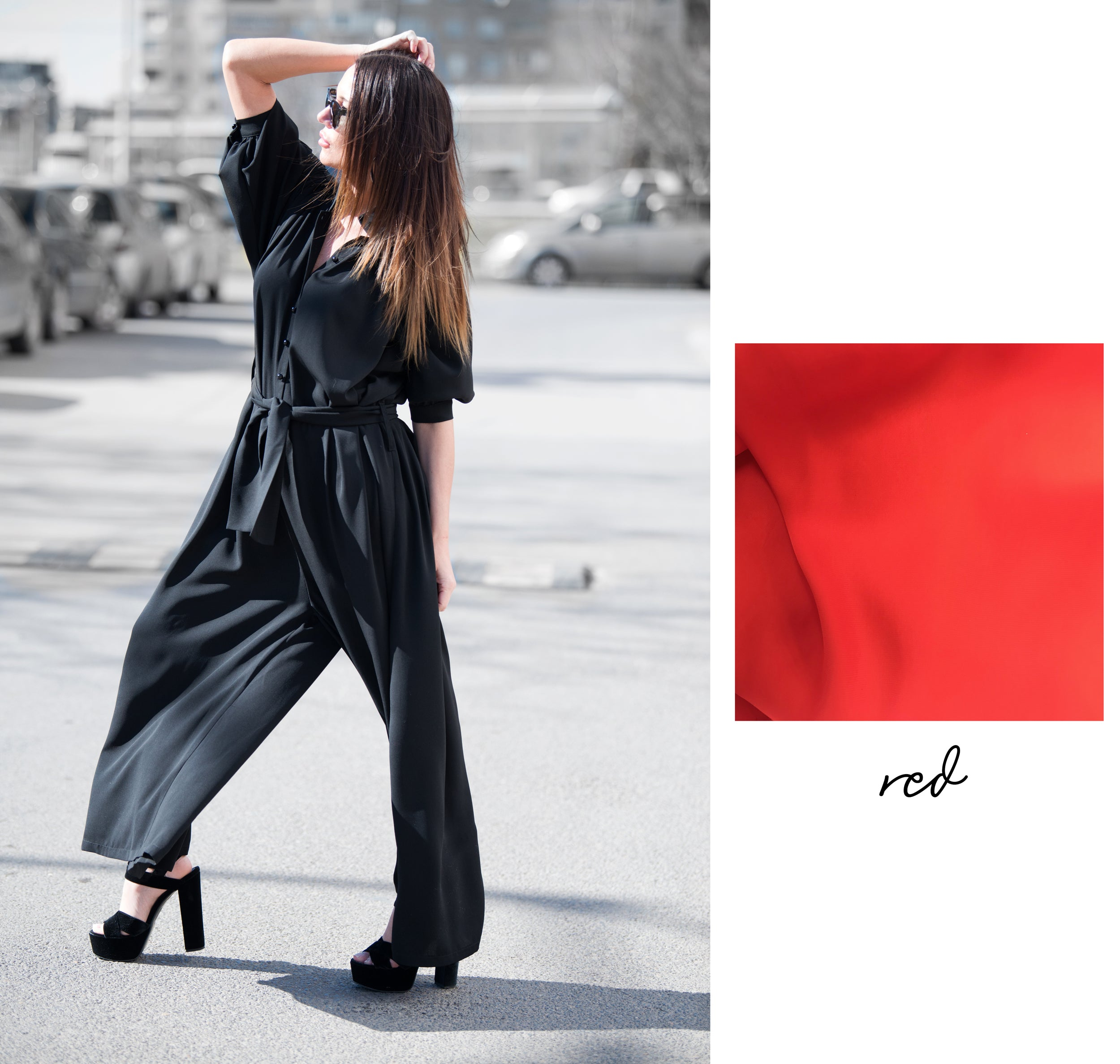 Red Wide Summer Jumpsuit