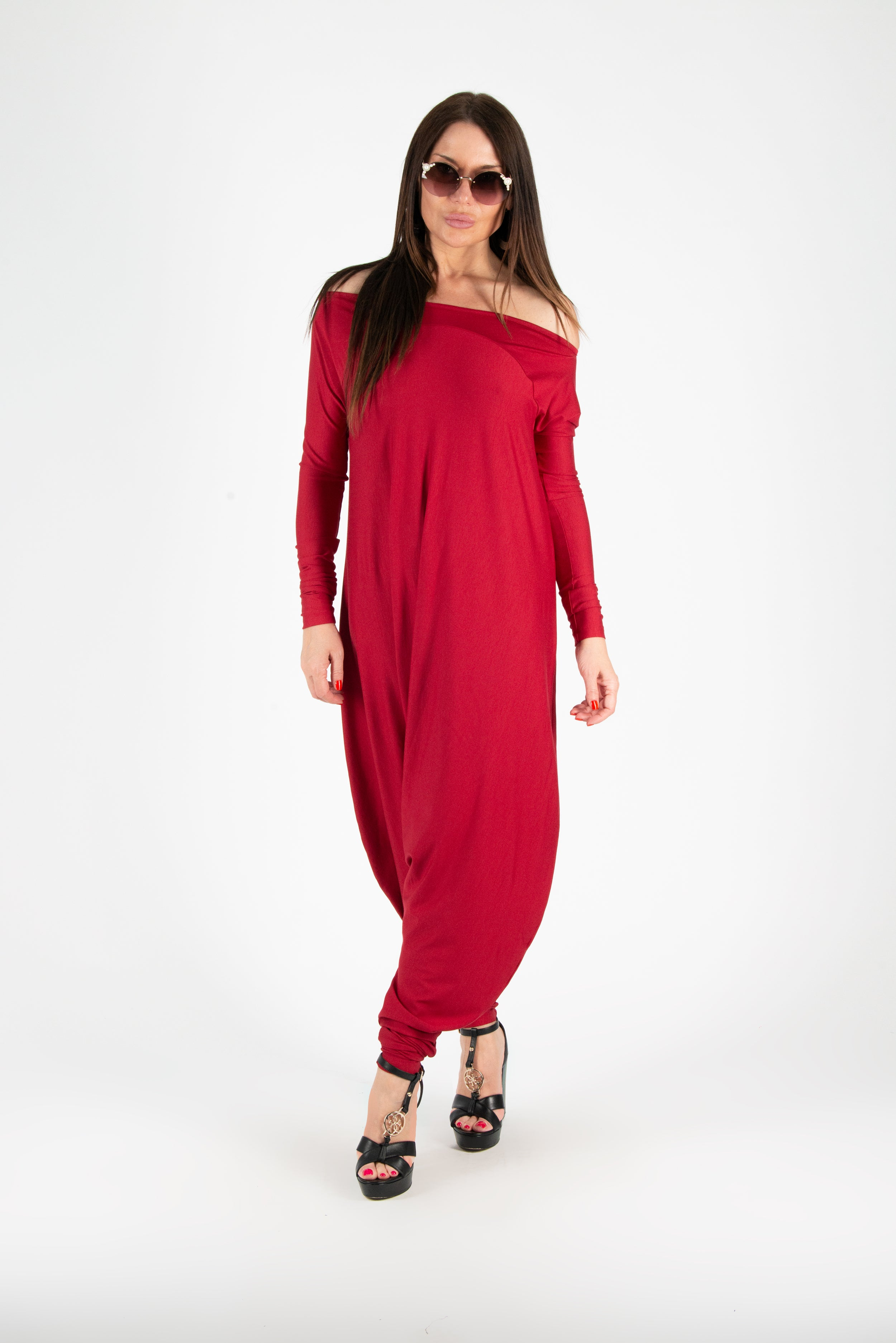 Red Harem Jumpsuit, Jumpsuits & Rompers