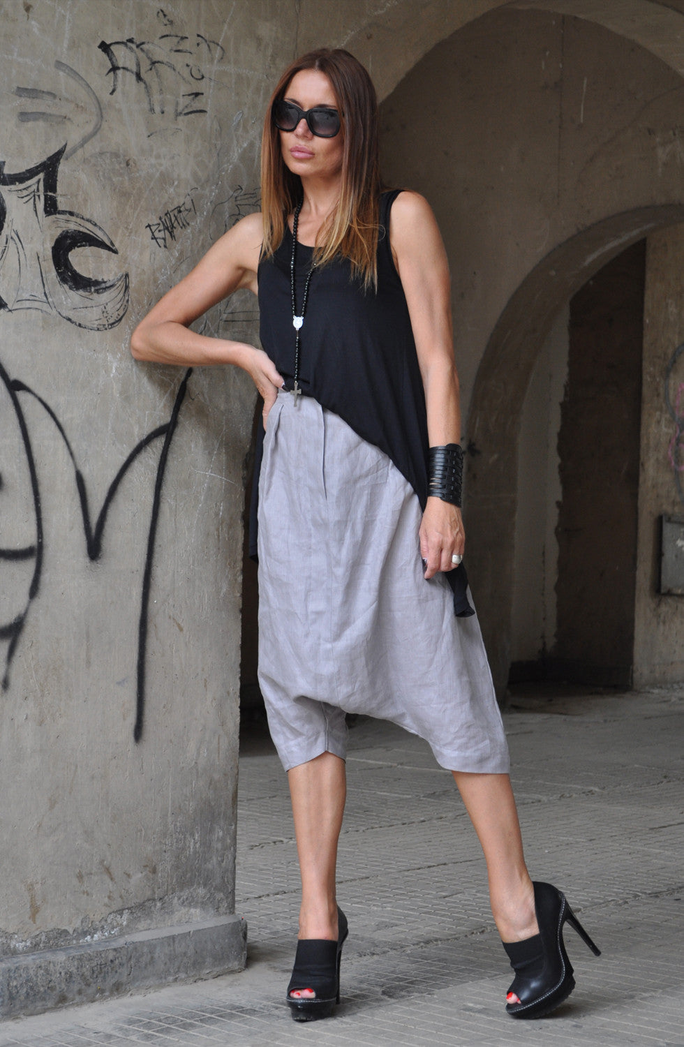 Loose Linen Grey Harem Pants, Linen Drop Crotch Grey Pants, Grey Linen Trousers