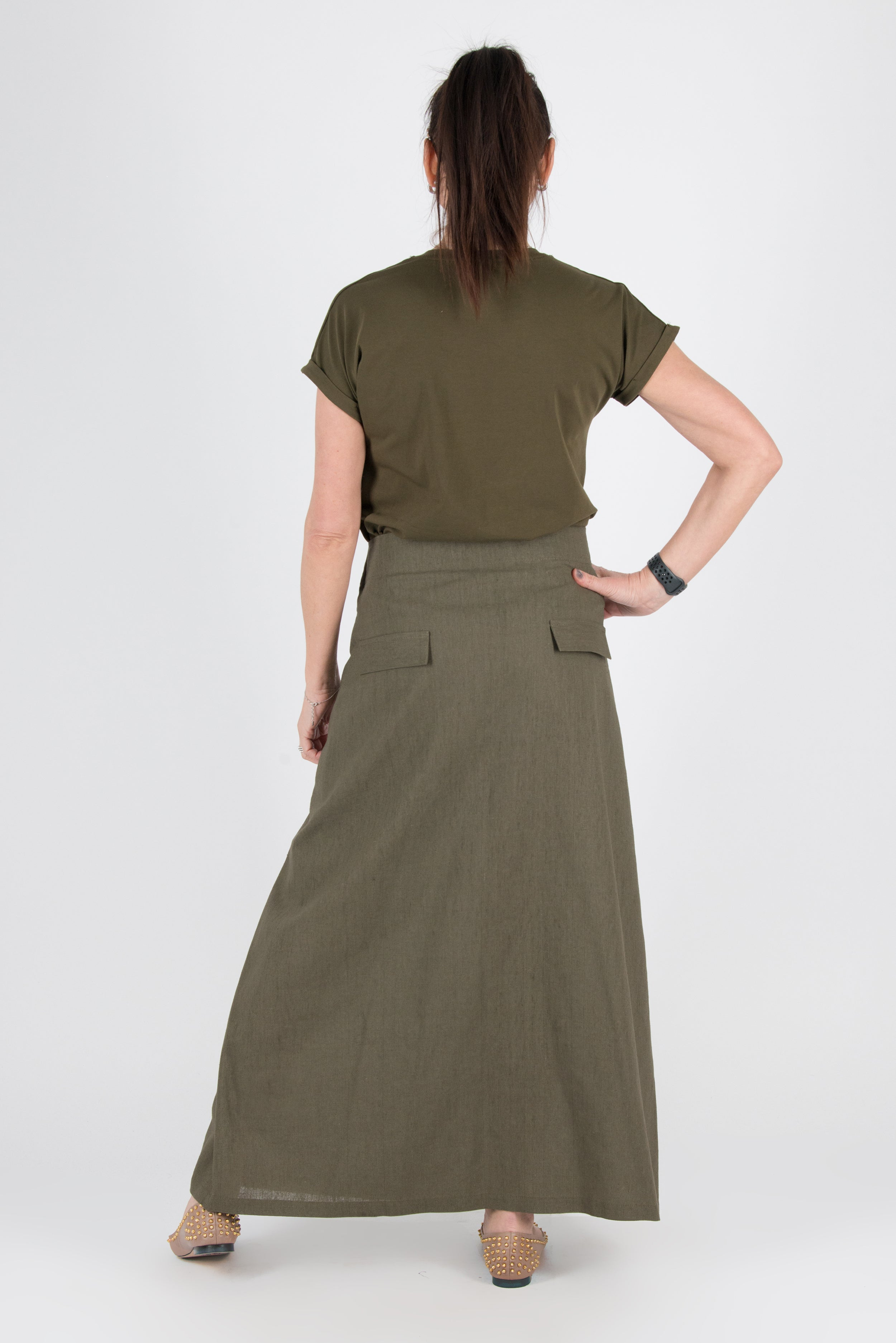Boho Military Green Linen Skirt, New Arrival