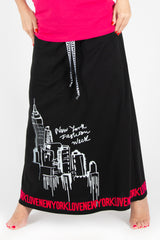 Hot Pink Printed Two pieces cotton outfit, skirt and tee, New Arrival