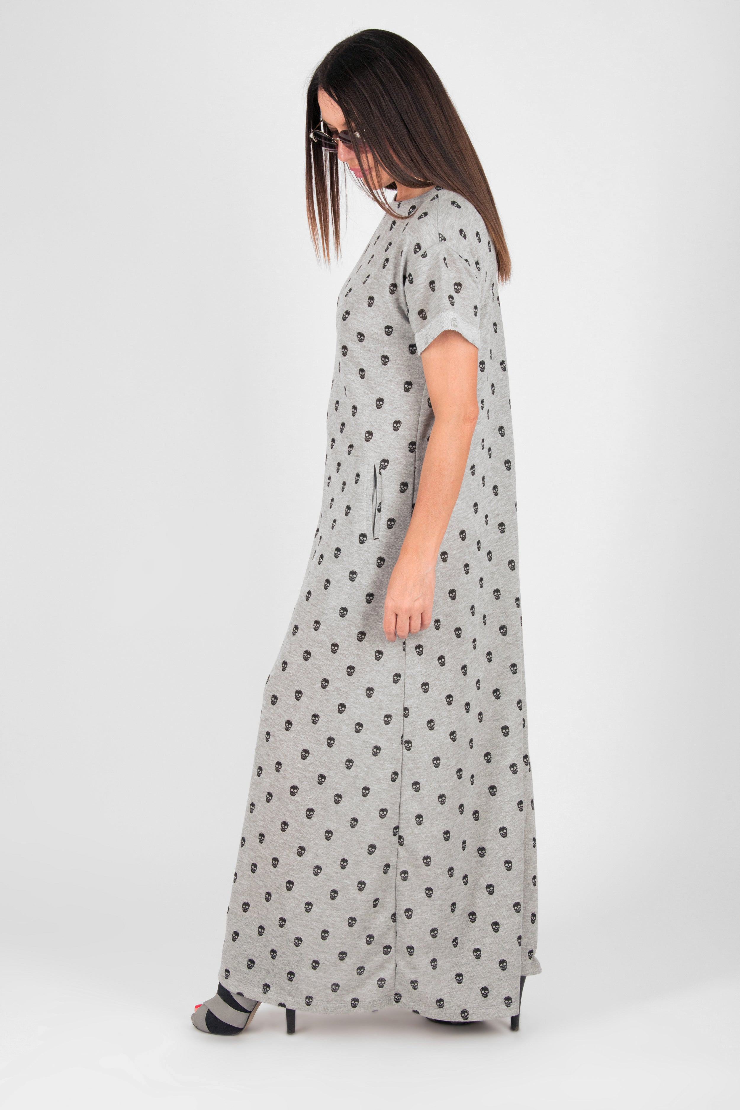 Light Gray Skull print Summer Dress, New Arrival