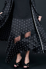 Two pieces Black Summer set from Trench coat and skirt, New Arrival