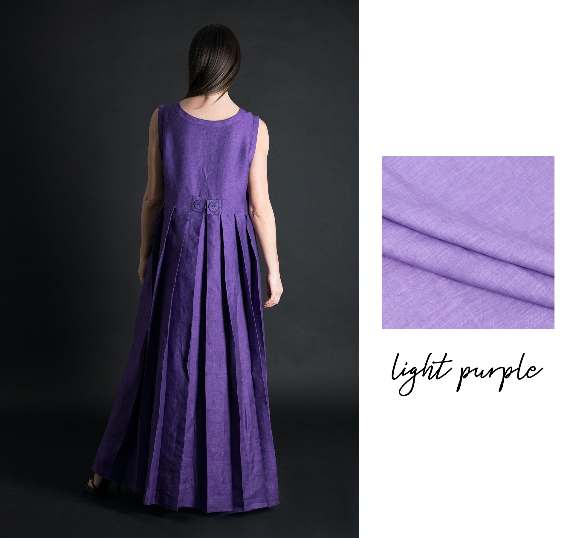 Purple Long Linen Maxi Dress