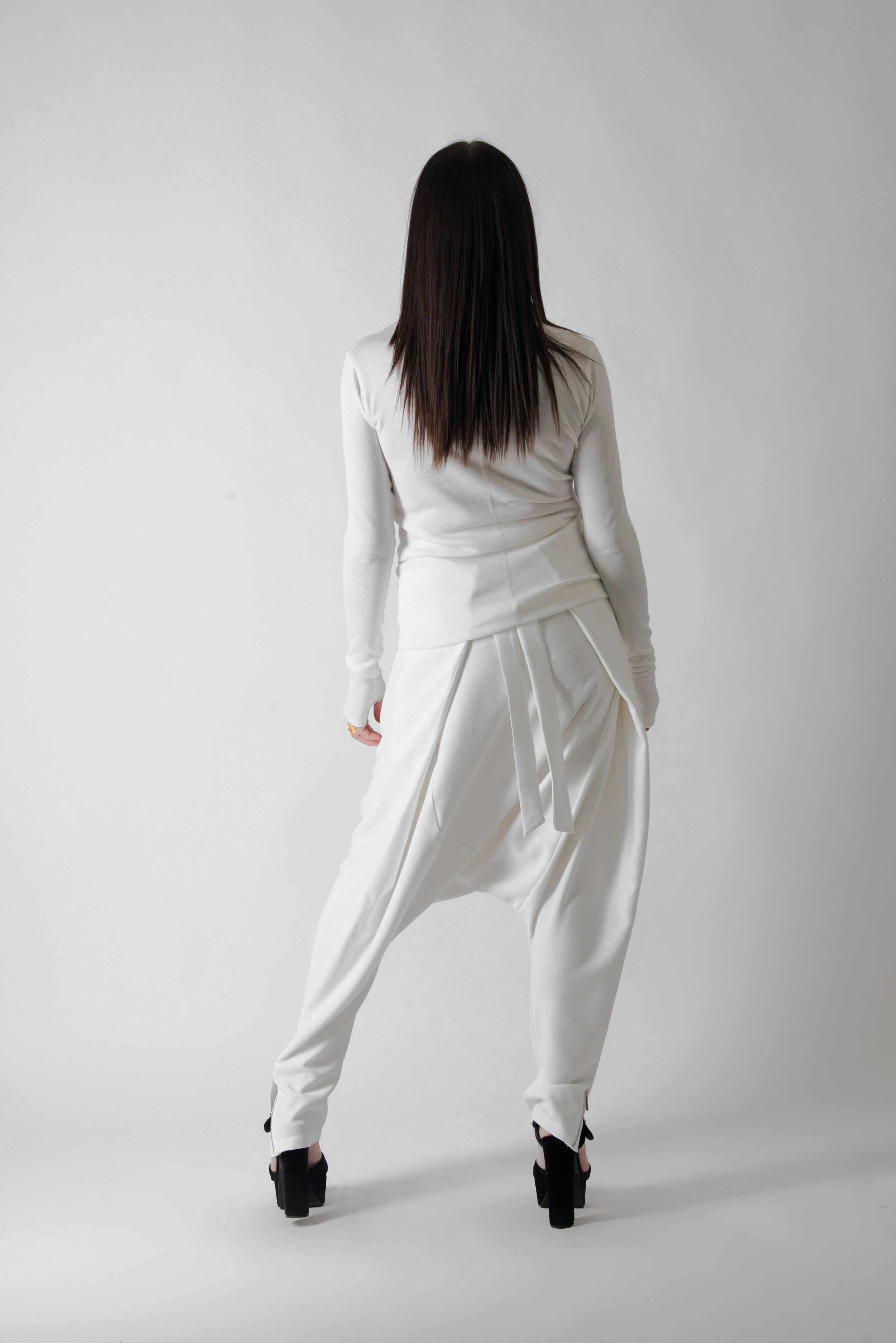 White Drop Crotch Pants, Pants & Leggings