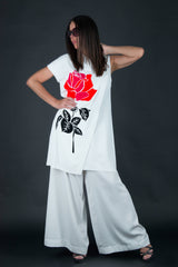 White set with Wide Pants and Long Loose Top with Print, Elegant & Sport Sets