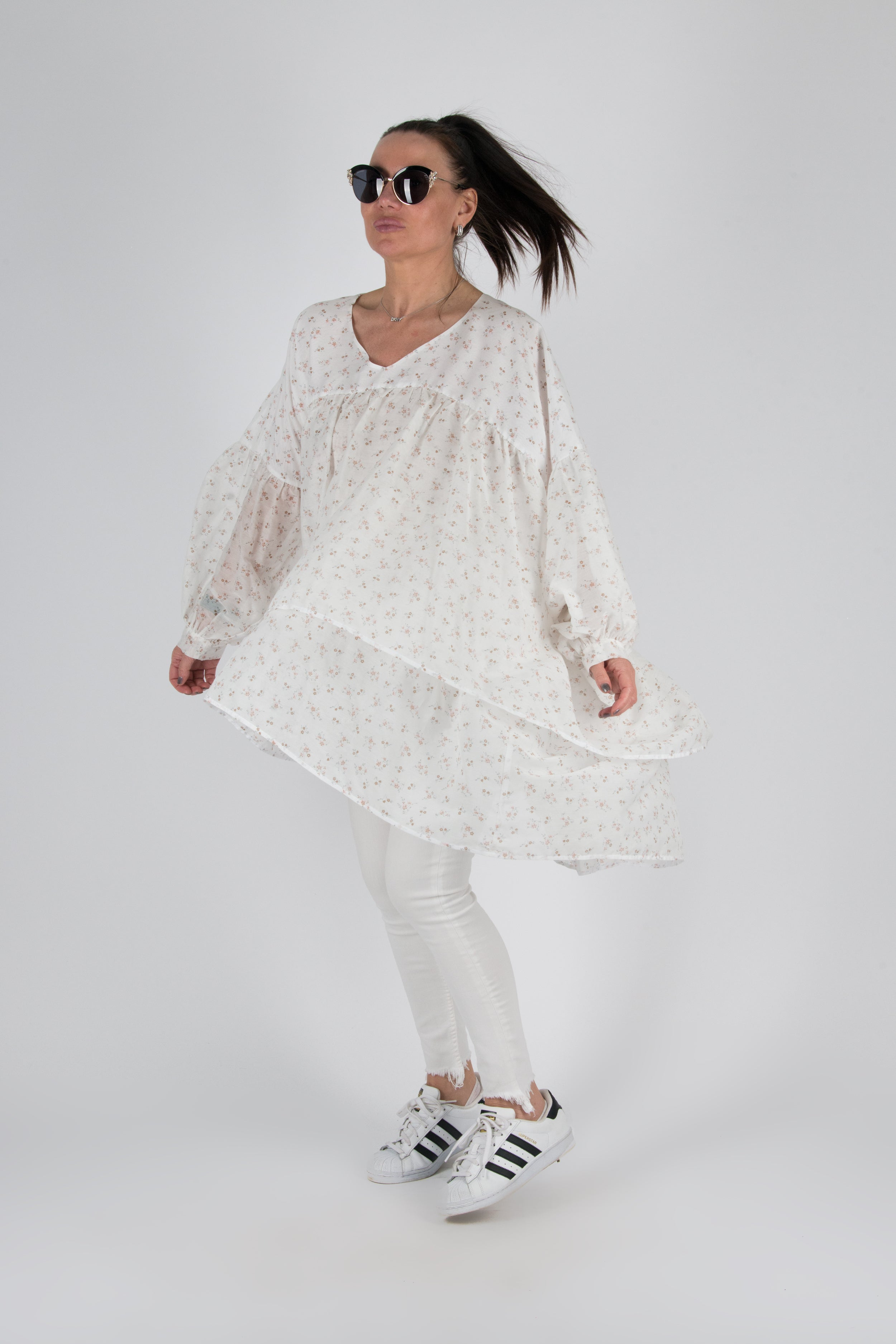 Women Maxi White Tunic Top, New Arrival