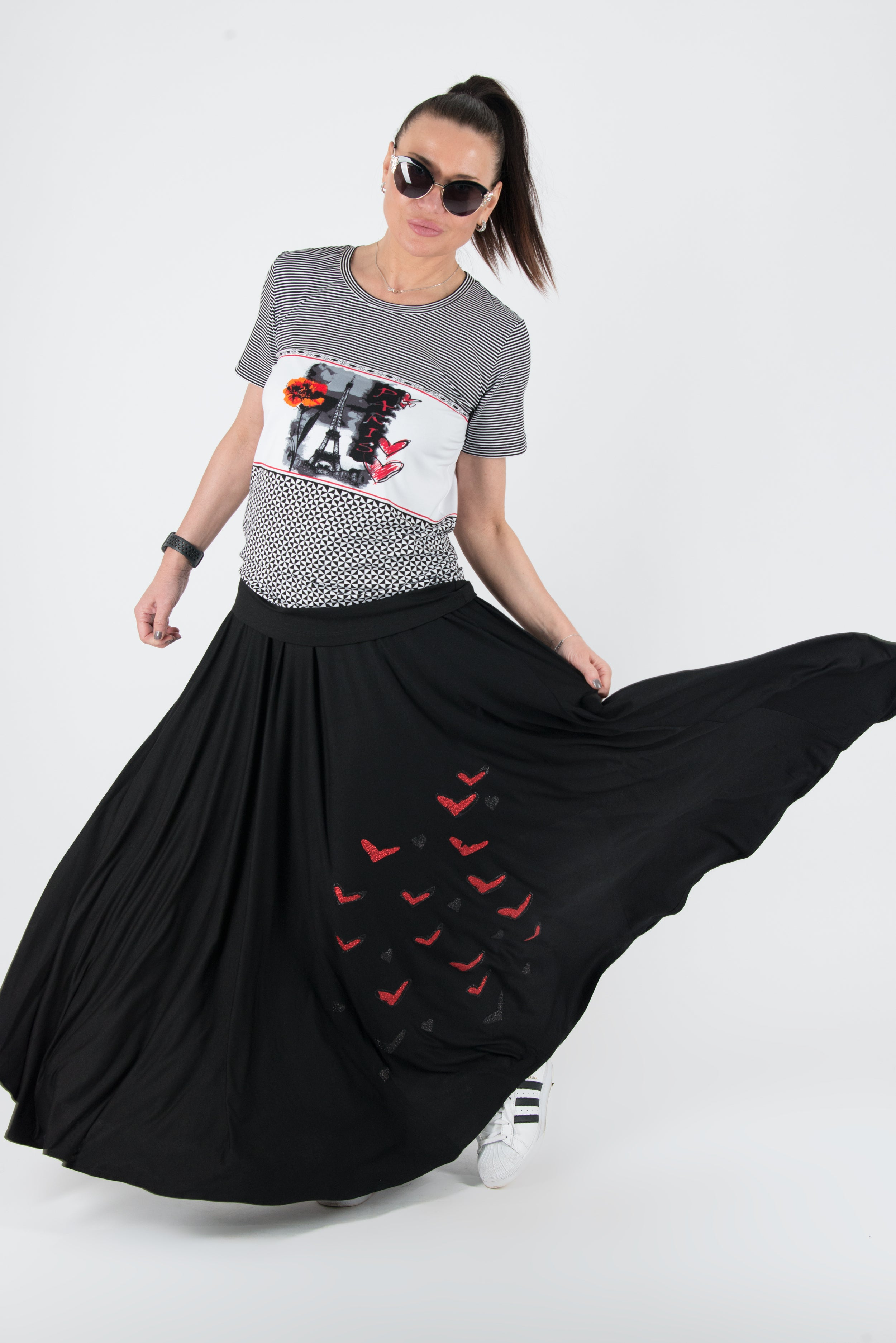 Two pieces Set, Cotton Skirt with Top with print