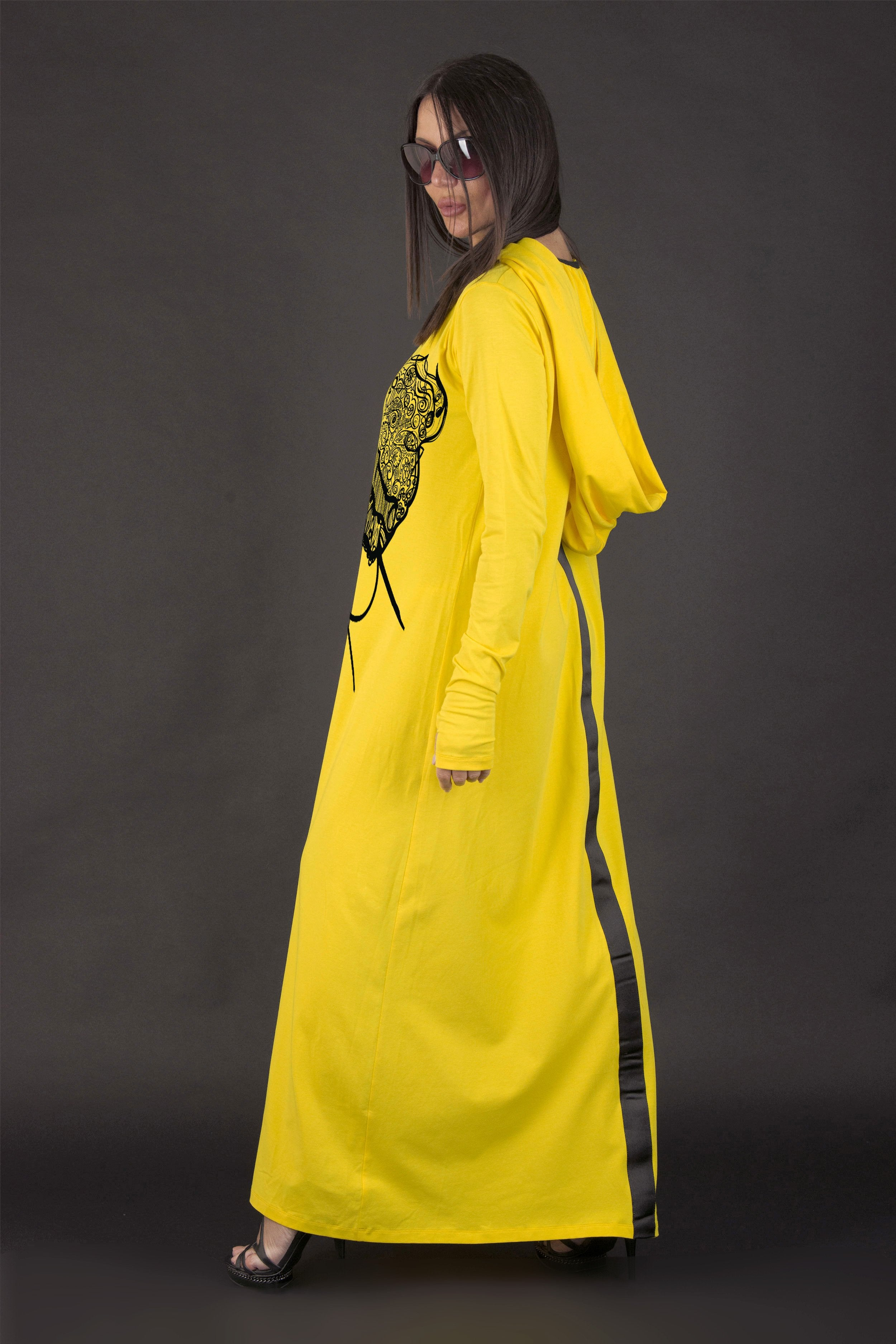 Yellow Hooded Long Dress with African Woman Print, New Arrival