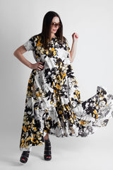Yellow Flowers Maxi Summer Cotton Dress, New Arrival