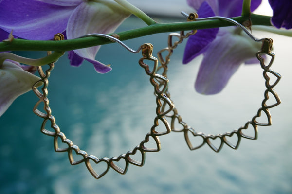 Heart hoop earrings-brass