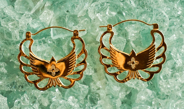 Golden eagle earrings - brass