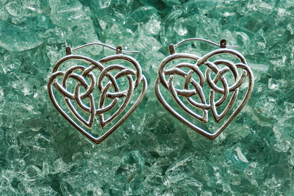 Celtic Heart earrings - silver plated