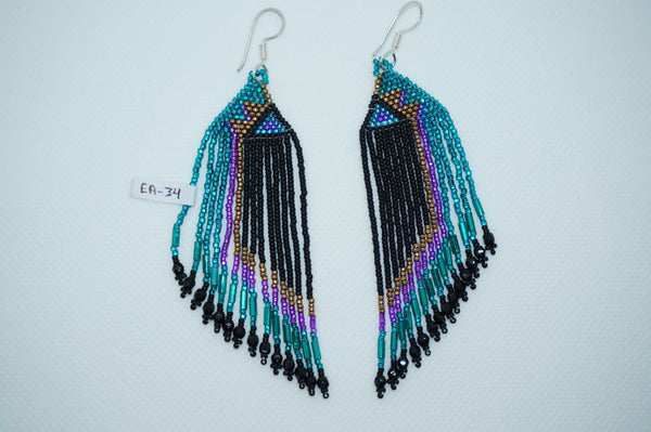 Huichol bead earrings- Black/turquoise/pink/gold