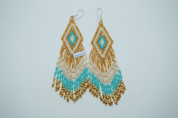 Huichol earrings - Gold/Turquoise/White