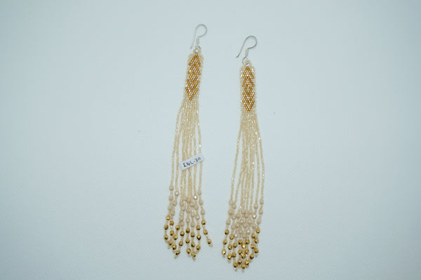 Huichol Earrings - Long White and Gold