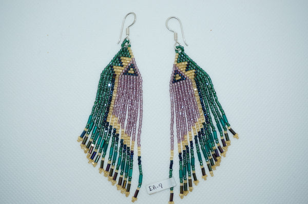 Huichol Earrings- Green/Purple/Beige/Blue