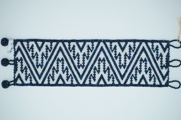 Huichol Bracelet- Blue and White