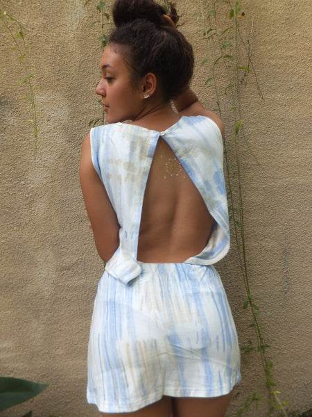 Blue and yellow eco tie dye bamboo mini dress