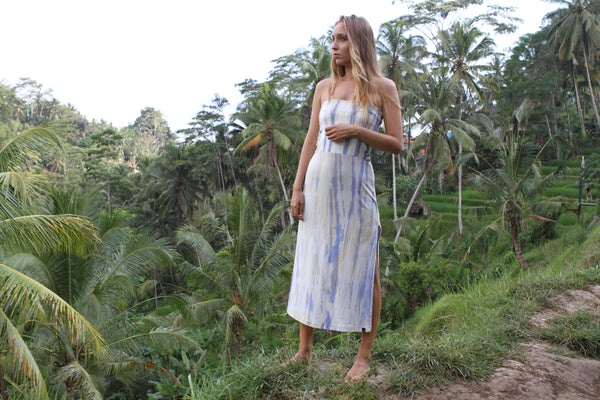 Blue and yellow tie dye organic bamboo long skirt
