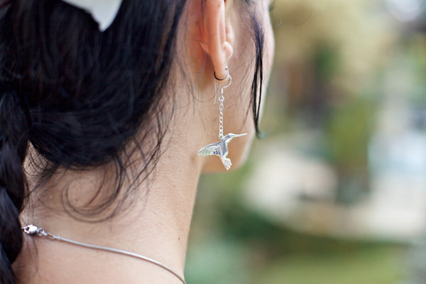 Hummingbird earrings - silver plated