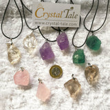 Raw Crystal Pendant - Amethyst, Fluorite, Clear, Rose & Smokey Quartz