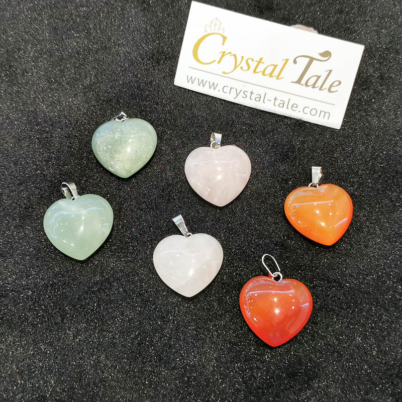 Heart Shape Necklace - Green Aventurine, Rose Quartz & Carnelian