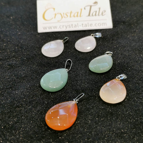 Faceted Tear Drop Pendant - Green Aventurine, Rose Quartz & Carnelian