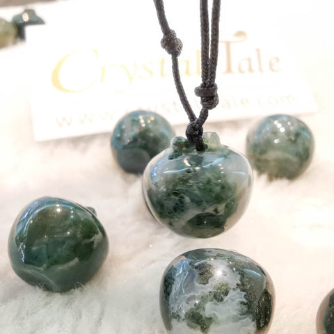 Moss Agate Mini Apple Pendant