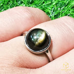 Load image into Gallery viewer, Gold Sheen Obsidian Ring
