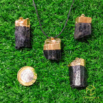 Load image into Gallery viewer, Black Tourmaline (Raw) Gold Cap Pendant