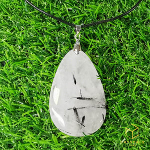 Black Rutile (Tourmalinated Quart) Teardrop Pendant - Big