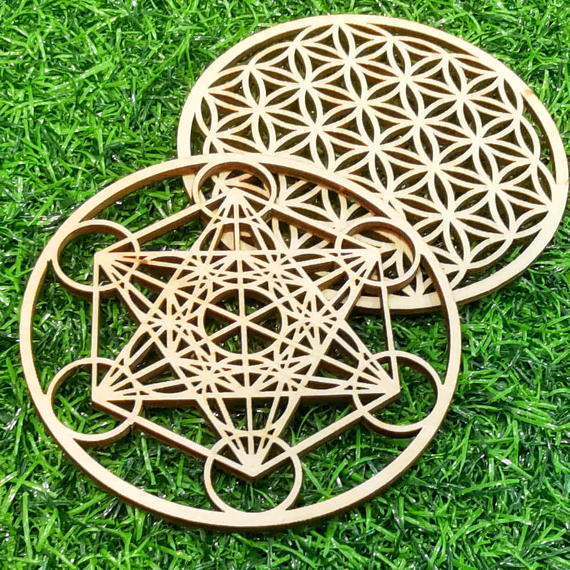 Flower of life & Metatron's Cube - Wooden Energy Grid