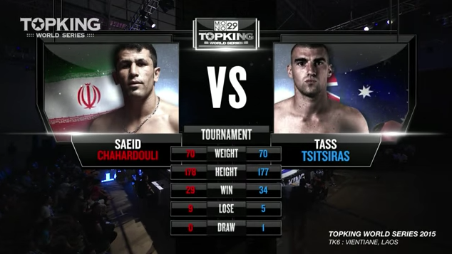 TK6 TOURNAMENT: Tass Tsitsiras (Australia) vs Saeid Chahardouli (Iran) (Full Fight HD)