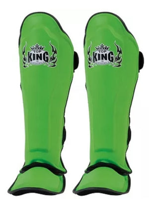 "Top King Green ""Pro"" Shin Guards ***Full Leather***"