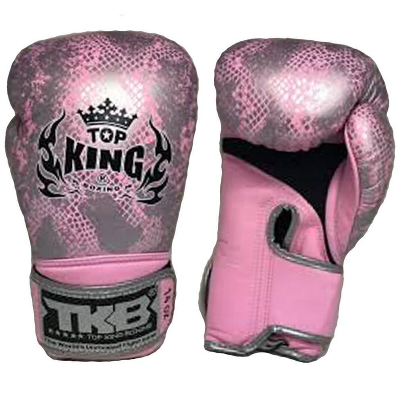 "Top King Silver / Pink ""Snake"" Boxing Gloves"