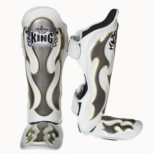 "Top King White / Silver ""Empower"" Shin Guards"