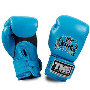 "Top King Neon Blue ""Double Lock"" Boxing Gloves [Air Version]"