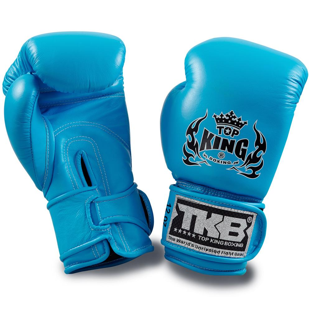 "Top King Neon Blue ""Double Lock"" Boxing Gloves"